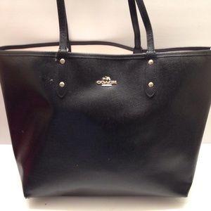 Black saffiano leather COACH reversible tote bag